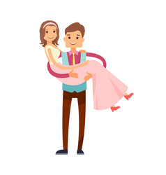 Groom carrying bride poster vector