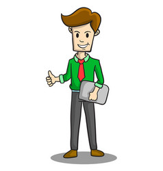 Happy businessman style character collection vector