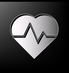 Heartbeat sign gray 3d vector