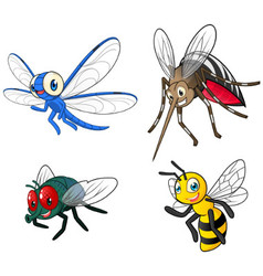 Insect cartoon character pack two vector