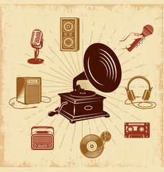Karaoke vintage composition vector