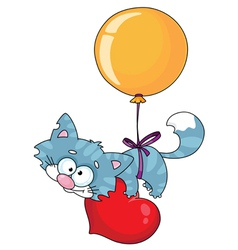 kitten and a balloon vector image vector image