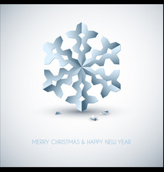 light blue paper christmas snowflake vector image vector image