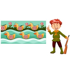 Man with gun and shooting game vector