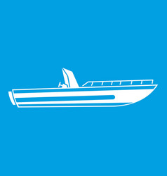 Motor speed boat icon white vector