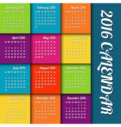 New year 2016 calendar with colored tiles holiday vector