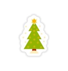 Paper sticker on white background hanukkah tree vector