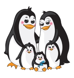 Penguins family on white background vector image
