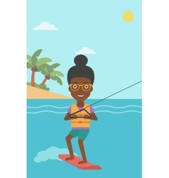 Professional wakeboard sports woman vector