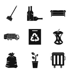 Recycle cleaning service icon set simple style vector