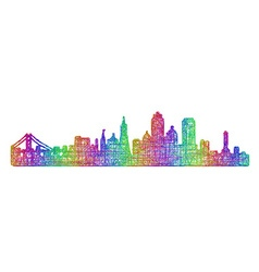 San francisco skyline - multicolor line art vector