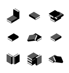 Set of stacks of books in black and white vector image vector image
