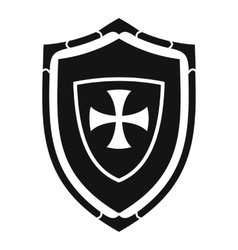 Shield with cross icon simple style vector