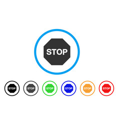 stop sign rounded icon vector image vector image