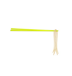 wooden chopsticks in yellow design holding noodles vector image