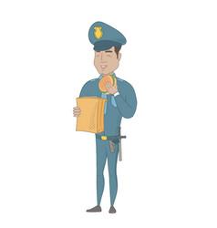 Young hispanic police officer eating hamburger vector