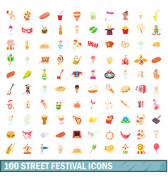 100 street festival icons set cartoon style vector image