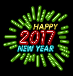 Happy new year - 2017 colorful neon light vector