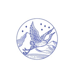 Great blue heron flying circle mono line vector