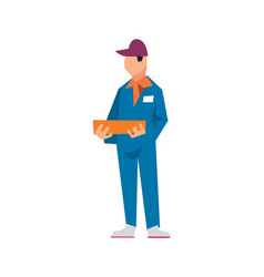 Delivery man in work uniform in flat design vector
