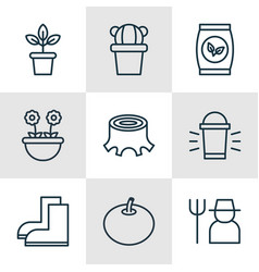 Set of 9 agriculture icons includes radish tree vector