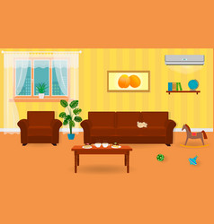 Living room interior in bright colors including a vector