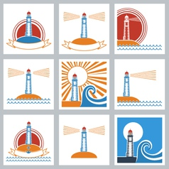 Lighthouse colors icons vector