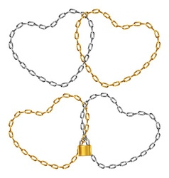Two heart-shaped chain vector