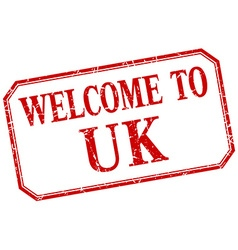 Uk - welcome red vintage isolated label vector