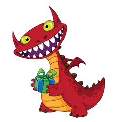 Laughing dragon and gift vector