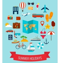 Summer flat icons set summer holiday vector