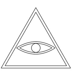All seeing eye symbol the black color icon vector