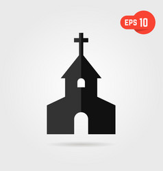 black simple church with shadow vector image