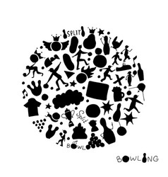 bowling icons set sketch for your design vector image vector image