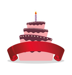 Cake birthday candle and red ribbon vector