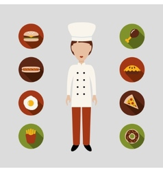 Chef and food icons vector