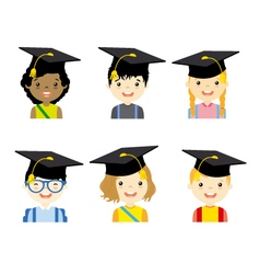 Children with graduation cap set vector