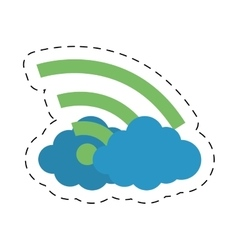 Cloud internet wifi technology cut line vector
