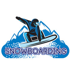 color template with snowboarder in a jump vector image vector image