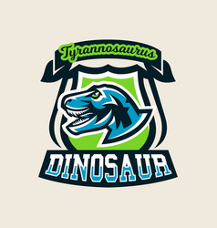 Colourful emblem logo label the dinosaur of the vector