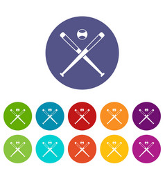 Crossed baseball bats and ball icons set flat vector