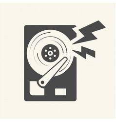 Damage the data hard disk scratch icon design vector