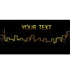 dark background with city skyline and skyscrapers vector image vector image