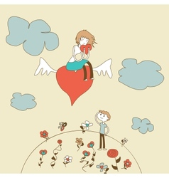 Doodle Girl Flies on the Heart over a Boy vector image vector image