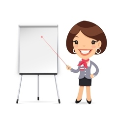 Female manager gives a presentation or seminar vector