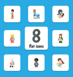 Flat icon mother set of woman child mam and vector
