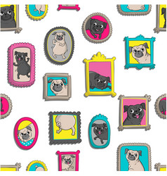 Frames with portraits of pugs vector