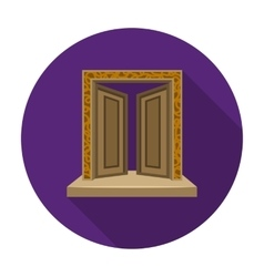 Gates to valhalla icon in flat style isolated on vector