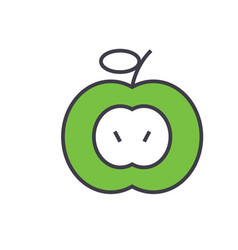 green apple concept line icon editable vector image
