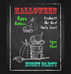 happy halloween chalk poster for party textured vector image vector image